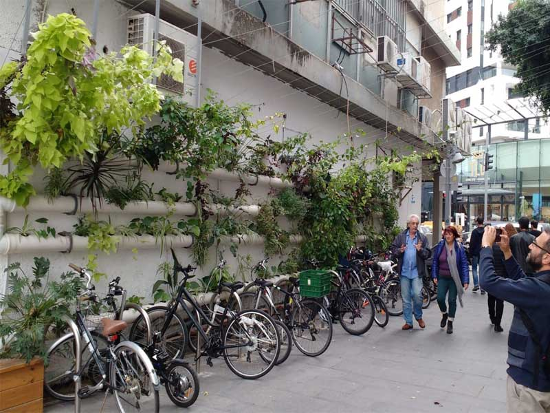 Vertical hydroponics system decorates the city